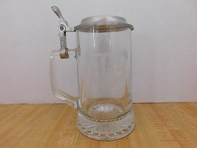 Winston Cigarette Advertising Beer Glass Stein Mug Etched Glass & Metal Lid
