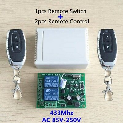 433Mhz Universal Wireless Remote Control Switch AC 250V 110V 220V 2CH Relay Rece
