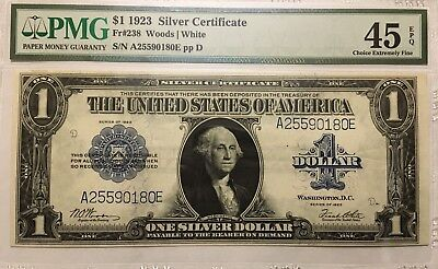 1923 $1 SILVER CERTIFICATE, PMG CHOICE EXTREMELY FINE 45 EPQ BANKNOTE, Fr 238