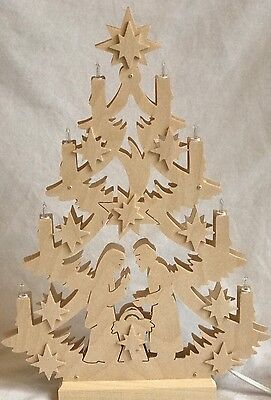 Michael Muller German Lighted Wooden Christmas Tree Nativity Handcrafted