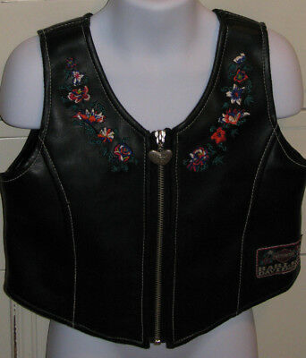 Harley Davidson Girl's Size 4 Black Embroidered Buckle Pouch Vest