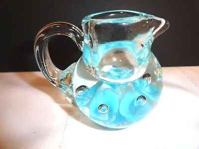 Beautiful Controlled Bubble Glass Small Pitcher With Blue Trumpet Flowers ~ Exc.