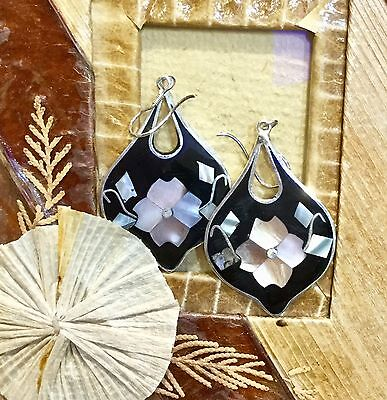 MEXICAN EARRINGS Abalone Shell Floral Inlay Sterling Silver Plated Black Colour