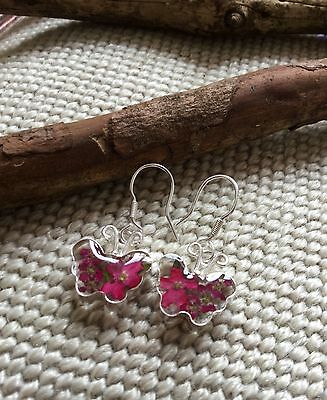 Butterfly Earrings Mexico  .925 Sterling Silver Pressed Flowers Fair Trade gift
