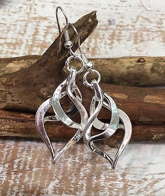 MEXICAN EARRINGS Sterling Silver Plated Handmade Swirl Design Fair Trade Gift