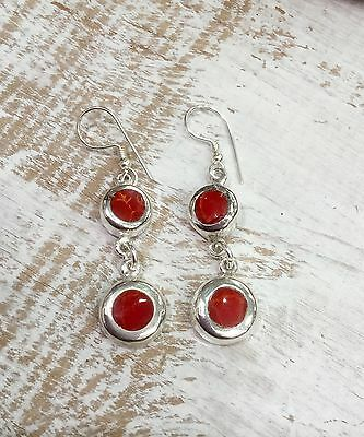 EARRINGS Mexico Sterling Silver Plated Red Resin Handmade Fair Trade Taxco