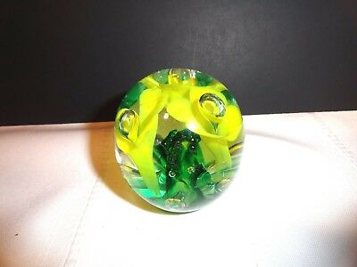 St. Claire Controlled Bubble Glass Small Round Ball Paperweight ~ Excellent
