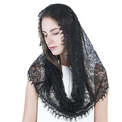 Infinity Scarf Mantilla Catholic Church Veil Head Covering Latin Mass Lace Black