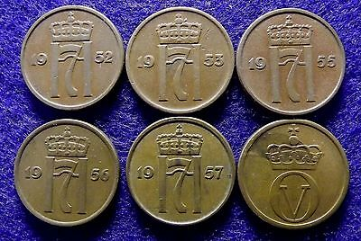 NORWAY 2 Ore 1952, 1953, 1955, 1956, 1957 & 1961 - 6 Very Good Coins (#1140)