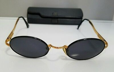 Vintage Gianfranco Ferre Oval Black and Gold toned Sunglasses with Case