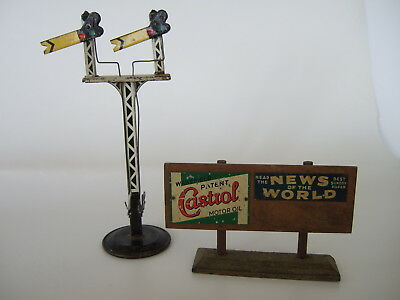 VTG Tin Chad Valley Double Signal Gauge PLUS Castrol, News of World Billboard