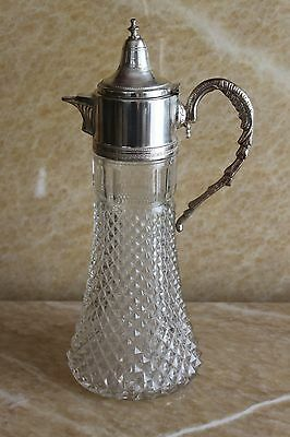 Antique English Silver Plate And Cut crystal Glass Wine Decanters