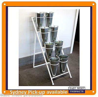 FLOWER PLANT DISPLAY RACK NBR8 with 8 Tin Buckets Portable Flower Display