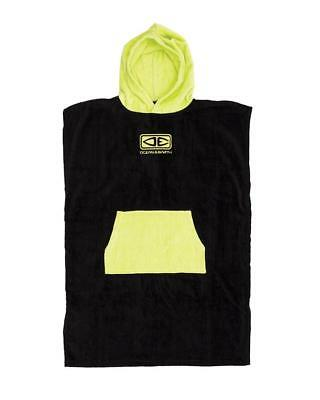 Youth Hooded Surf Poncho - Black/Lime Print From Ocean & Earth