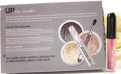 bareMinerals BARE TUTORIAL Smoky Eyes 5pcs.BONUS Marc Jacobs Lip Gloss All BNIB