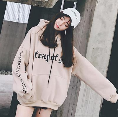 Korean Winter Warm Casual Loose Hooded Pullover Sweater Printed Jacket Coat A+++
