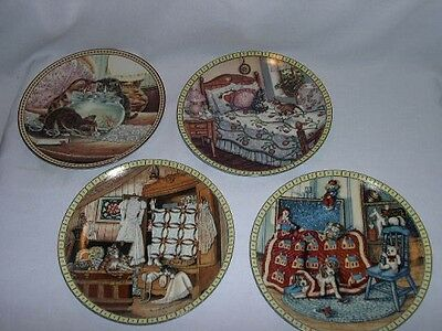 (4) Knowles Cat Collector Plates  ~ Signed & Numbered ~Vintage 1991