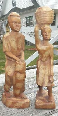 Vintage Pair of 2 Hand Carved African 11 Inch Statues Man Drum Woman