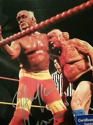 Hulk Hogan Autographed 8x10 Photo Features Rik Flair WWF PSA/DNA COA