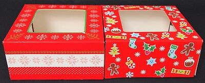2PCS CHRISTMAS CAKE FOOD GIFT BOXES - 16 x 16 x 7.5 cm CHRISTMAS PARTY DESSERTS