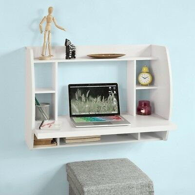 SoBuy® Wall-Mounted  Home Office Computer Table Desk with Shelves, FWT18-W,UK