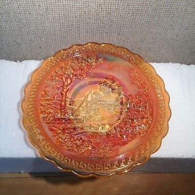 Vintage Imperial Glass  Carnival Plate with Woods Pattern, Geraldines delight,
