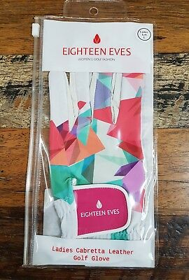 Women's Ladies Leather Golf Glove Left Hand SIZE LARGE - Eighteen Eves - Multi/c
