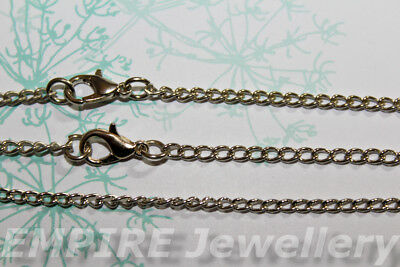 "3 x Silver Tone Curb Link Chain 3x2mm & Approx 31"" or 80cm Long Necklace Lobster"