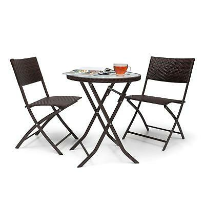 3 Pcs Table Chair Garden Restaurant Bar Club Furniture Bistro Home Patio Brown