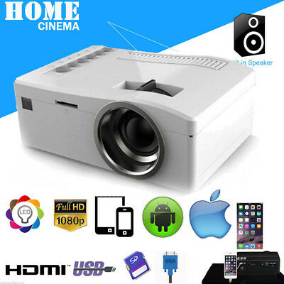 1080P HD LED Home MulitMedia Theater Cinema Mini Projector USB TV VGA SD HDMI