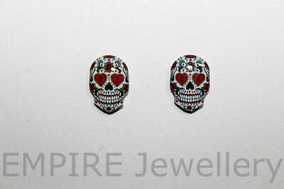 NEW!! 2 x Los Muertos Skull 12x9mm Flat Photo RESIN Cabochon Cameo Day Dead