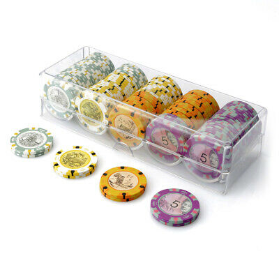 100 Chip Aussie Currency Poker Set Clear Acrylic Rack Cover 14g Chips New Sealed
