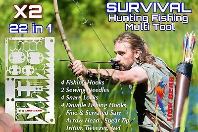 x2 Hunting Fishing EDC 22-1 Wilderness Card Tool FREE DELIVERY