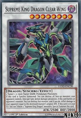 Yugioh - 3x Supreme King Dragon Clear Wing LEDD-ENC30 Common - 1st Ed - NM/M