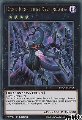 Yugioh - 1x Dark Rebellion Xyz Dragon LEDD-ENC32 Ultra Rare - 1st Ed - NM