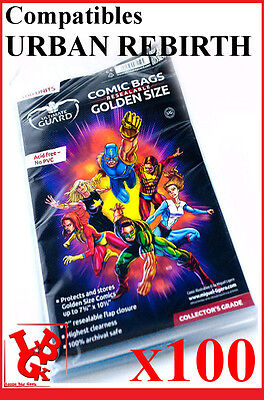 Pochettes Protection comics REBIRTH x 100 GOLDEN Size REFERMABLES URBAN # NEUF #