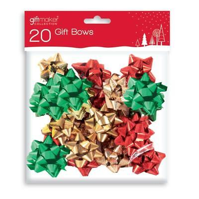 20 Pack Red Green & Gold Self Adhesive Gift Bows Present Wrapping Christmas