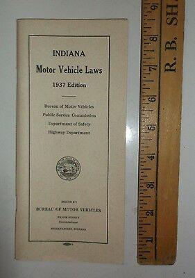 1937 Edition - Indiana Motor Vehicle Laws pamplet