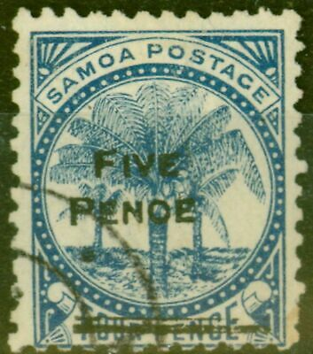 Samoa 1893 5d on 4d Blue SG67var PENOE Error Fine Used Un-listed Rare
