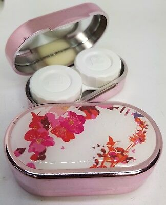Karine Faou Mirror Case Contact Lens Soaking Storage Case UK MADE - White Floral