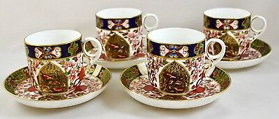 Antique Royal Crown Derby Imari 198 Large Breakfast Cups & Saucers X 4 C.1886
