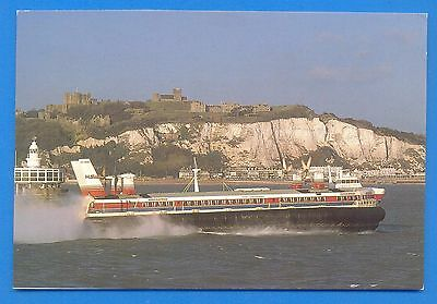Hoverspeed Hovercraft Passing Dover Castle.postcard.