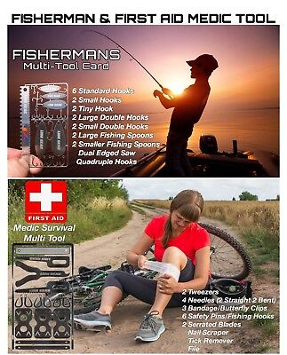 EDC Survival Cards Combo Sets For First Aid & Fishing