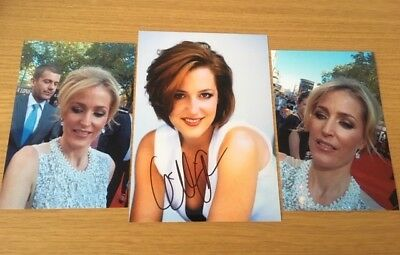 Gillian Anderson original autograph The X Files, The Fall & 2 4x6 proof photos