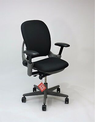 Steelcase Leap V1 Chair New Camira Black Fabric ( Grey Frame)