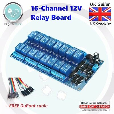 16 Channel 12V Relay Module Board - Arduino Raspberry Pi PIC AVR MCU ARM DSP