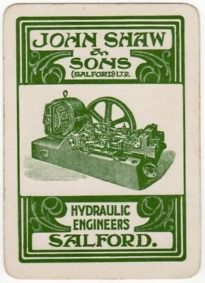 Playing Cards 1 Swap Card Antique Wide JOHN SHAW Advertising HYDRAULIC ENGINEERS