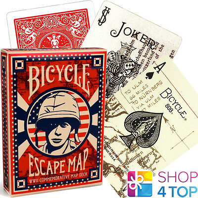 Bicycle Escape Map Playing Cards Deck Military Ww2 World War Ii Commemorative