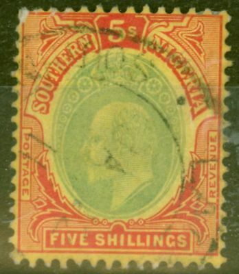 Southern Nigeria 1909 5s Green & Red-Yellow SG42 Good Used