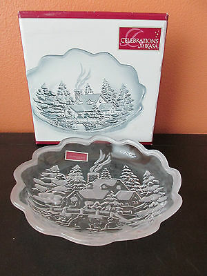 """New Mikasa Winter Wonderland Collection Frosted 7.25"""" Candy Dish"""